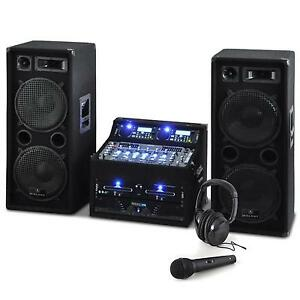 sono enceinte dj avec double lecteur cd usb ampli pa mixer 4 canaux 2000w noir ebay. Black Bedroom Furniture Sets. Home Design Ideas
