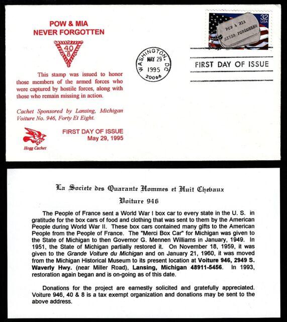 1996 POW/MIA Sc 2966 Hogg 1st cachet, Voiture #946 Lansing MI