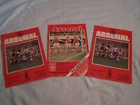 3 x Arsenal v Bolton Wanderers football programmes 1970's