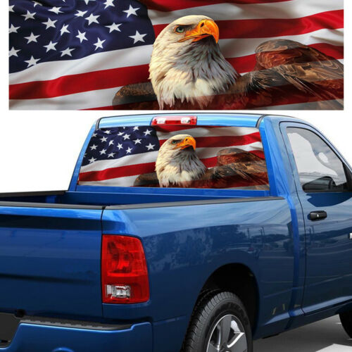 """14/"""" American Flag Eagle Truck Jeep Rear Window Graphic Decal Tint Sticker 54/"""""""