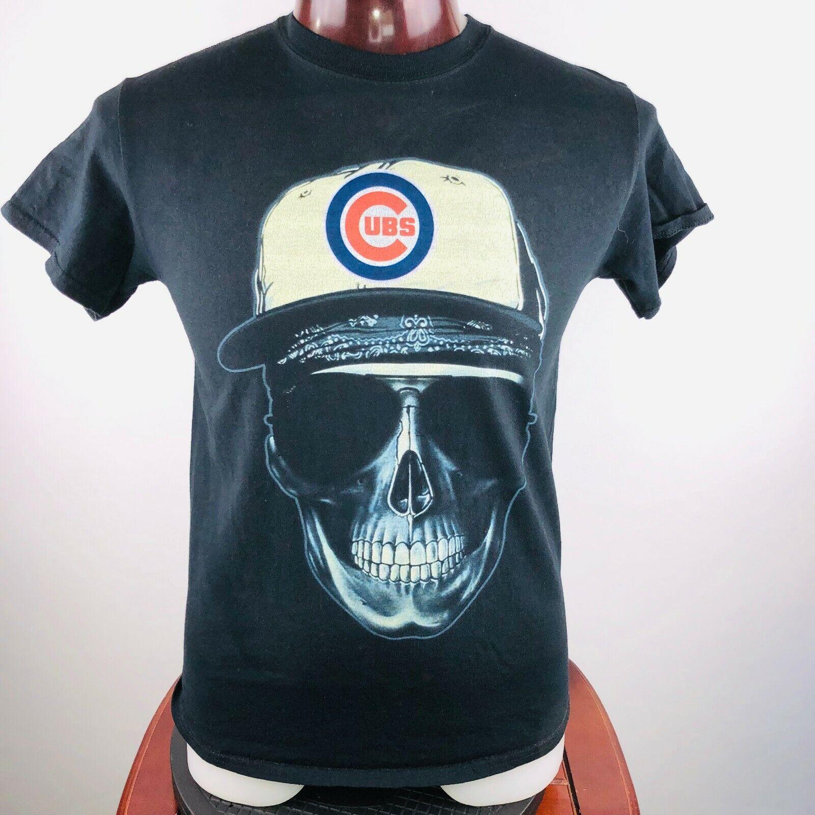 Chicago Cubs Skull Baseball Cap Mens M Graphic T Shirt