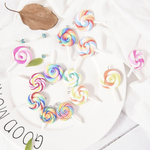 10PCS Soft Lollipops Charms Pendants Resin DIY Decoration Earrings Necklace GS
