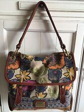 Fossil Long Live Vintage Flap Top Multi-Color Canvas/Suede Shoulder Handbag