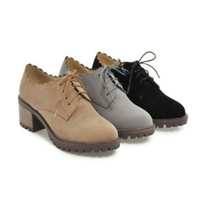 Fashion-Women-039-s-Lace-up-Oxfords-Block-Round-Toe-High-Heels-Low-Top-Suede-Shoes