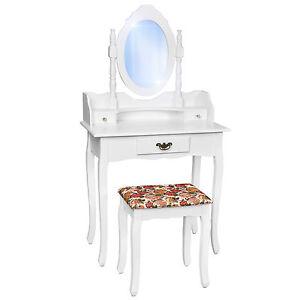 Coiffeuse meuble table de maquillage tabouret commode avec miroir blanc