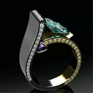 Cool-925-Silver-Emerald-Round-Ring-Women-Men-Wedding-Jewelry-Gift-Size-5-11