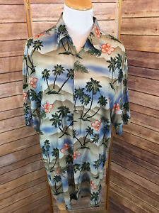 VTG Campia Moda Palm Tree Hawaiian Shirt Green Blue Beige Button Front