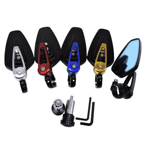 """Universal Motorcycle 7/8"""" Handle Bar End Rearview Side Mirrors For  Honda Yamaha"""