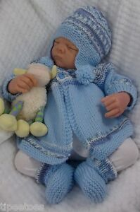 Baby-Knitting-Pattern-DK-57-TO-KNIT-Matinee-Cardigan-Hat-Bootees-Reborn-Dolls