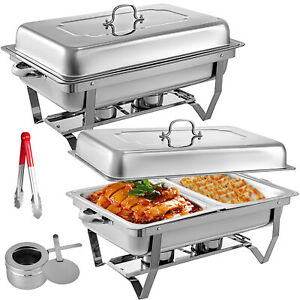 2-Pack-Catering-Stainless-Steel-Chafer-Chafing-Dish-Sets-9Qt-Buffet-Pans
