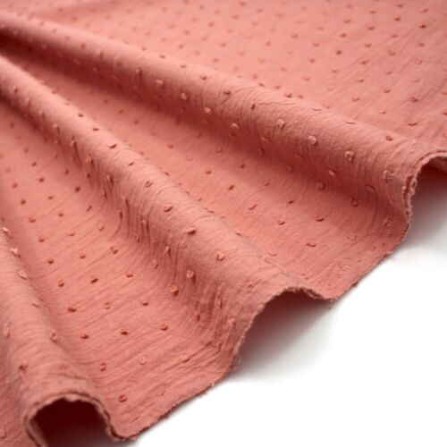 100/% Cotton Dressmaking Fabric Dotted Swiss Voile Marsala