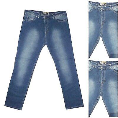Cosciente Jeans Da Uomo Elasticizzato Pantalone Denim Taglie Forti 62 A 70 Slim Fit Blu Forma Elegante