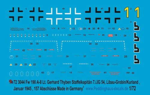 Peddinghaus 3044 1//72 Fw 190A-8 Lt Lib Staffelkapitän 7.//JG 54 Gerhard Thyben