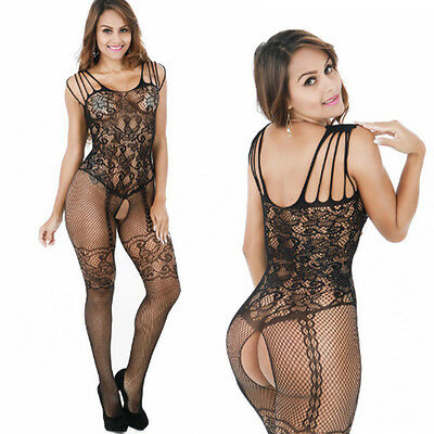 Sexy Womens Fishnet Open Crotch Body Stocking Bodysuit Nightwear Lingerie Dress