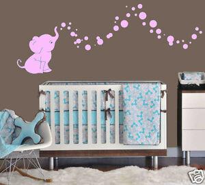 Elephant Bubbles Baby Wall Decal Vinyl Wall Nursery Room Decor 15 Colors Ebay