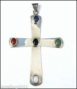Very-LARGE-Vintage-Cross-Pendant-MEXICO-Sterling-Silver-HUGE-3-75-x-2-5