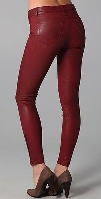 J Brand Red Stretch Leather Skinny Ankle Zip Leggings Pants $895