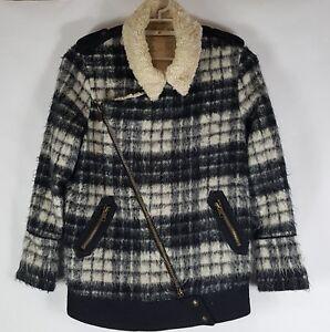 e7426eacb842 Free People Sz M Jacket Women Shearling Faux Fur Asymmetrical Zip ...