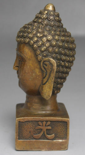 Chinese Old Buddhism Temple Bronze Shakyamuni Sakyamuni Buddha Head Bust Statue