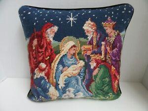 Ricamo-Cuscino-Nativita-Mary-amp-Gesu-Vacanze-di-Natale-Blu-Navy-Velluto-33cm