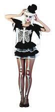 Donna Scheletro Halloween Costume Spaventoso da donna COMPLETO sexy UK 10-14