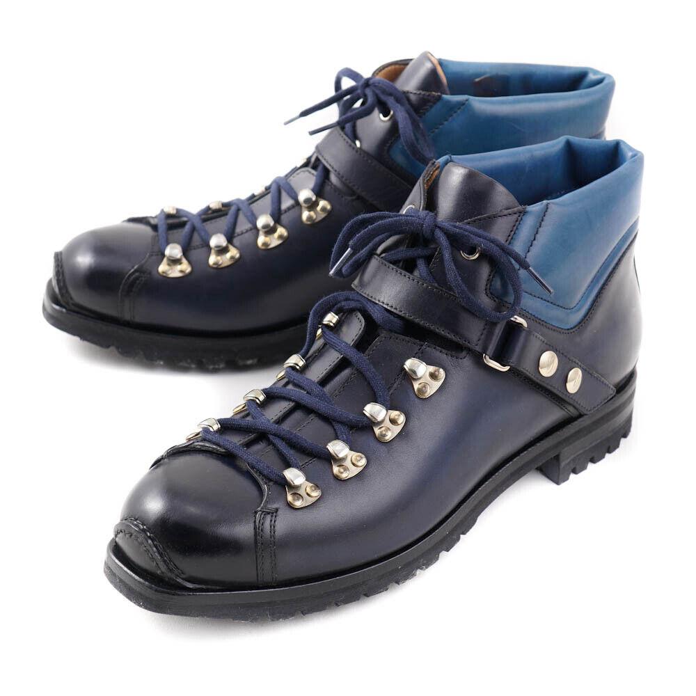 Nuevo En Caja  SANTONI suave de piel de becerro Azul Marino botas Senderismo Zapatos EE. UU. 6