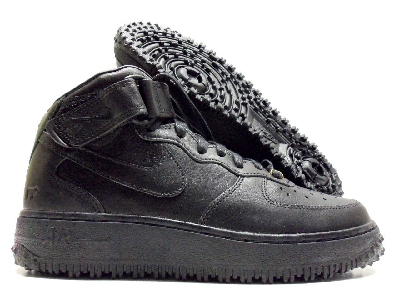 NIKE AIR FORCE 1 PREMIUM ID WILL LEATHER GOODS BLACK SIZE MEN'S 6 [921292-991]