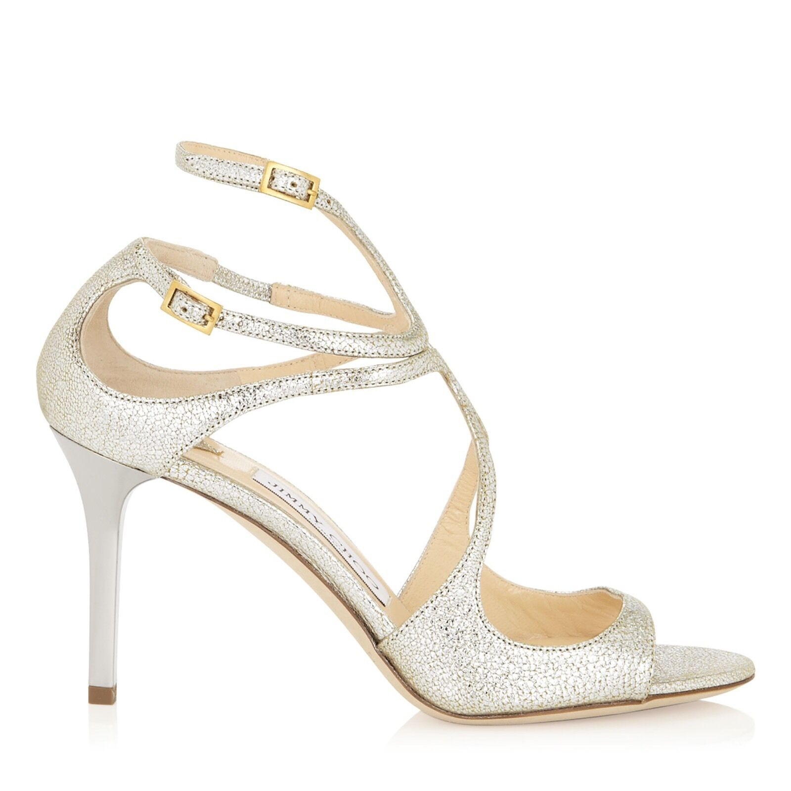 JIMMY CHOO 'ivette' Silver Champagne SANDALS HEELS STRAPPY Size UK 1 Eu 34