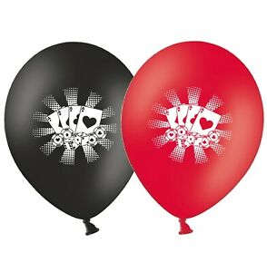 Cards-amp-Chips-Poker-12-034-Black-amp-Red-Asst-Printed-Latex-Balloons-pack-of-5