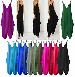 Womens Party Lagenlook Strappy Sleeveless Plain Harem Jumpsuit Playsuit Dress