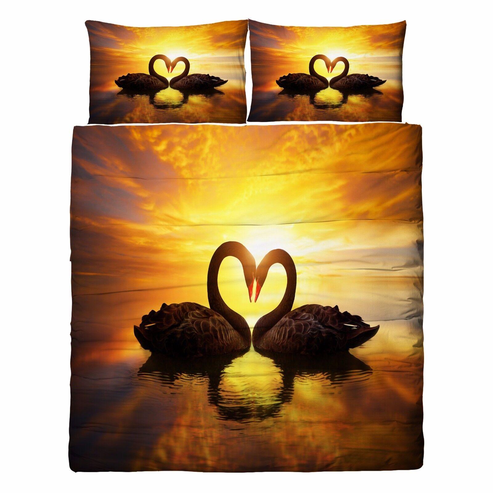 3D Sunset Swan 86 Bed Pillowcases Quilt Duvet Cover Set Single Queen UK Kyra
