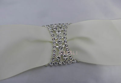Crystal Rhinestone Buckle Wedding center piece Decor Vase MENU Ribbon G2283