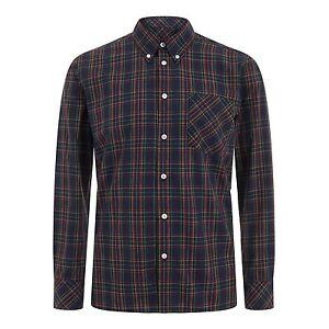 Merc-London-Hombre-Cuello-Abotonado-Camisa-de-cuadros-neddy-azul-marino