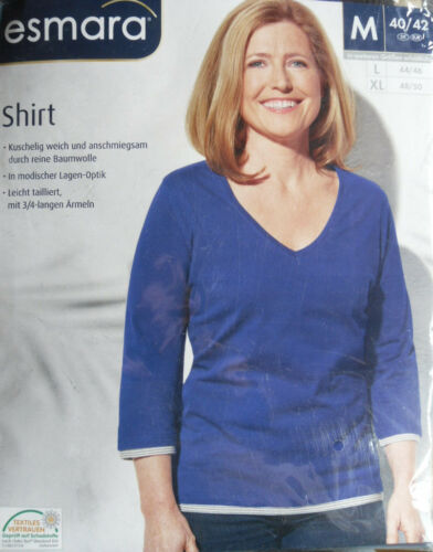 Damen Shirt OVP esmara 3//4 Arm Blau M 40//42