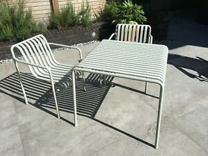 Hay Pallisade garden dining chairs white. Weather ...