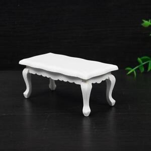 1-12-Dollhouse-Retro-Miniature-Furniture-Model-Wavy-Side-White-Coffee-Table