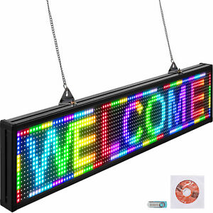 "VEVOR LED Scrolling Sign 38""x6.5"" P10 Programmable Full Color Sign Board Sling"