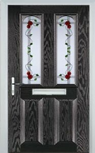 2 Panel 2 Arch Mackintosh Rose Composite Front Door in Black Brown Various sizes