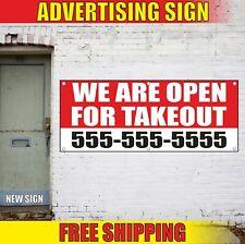 Open For Takeout Banner Advertising Vinyl Sign Flag Delivery Go Take Custom Ship
