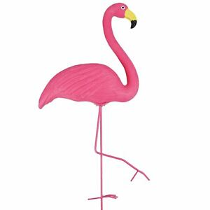 Image Is Loading Pink Flamingo Free Standing Plastic Garden Ornament Pond