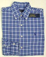 NWT $98 Polo Ralph Lauren Shirt Mens Size S L XL XXL Blue Plaid Button Down NEW