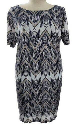 Womens Ladies Plus Size Smart Casual Navy Print Lined 3//4 Sleeve Dress AS-1006
