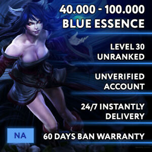 NA League of Legends LOL Account Smurf 40.000 - 100.000 BE Unranked Level 30 PC