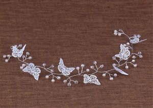 Women-Girl-White-Butterfly-Pearl-Prom-Party-Hair-Headband-Hairpiece-Head-Tiara