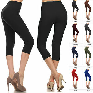 Buttery-Soft-Capri-Leggings-Womens-Basic-Solid-Super-Stretch-High-Waist-Plain