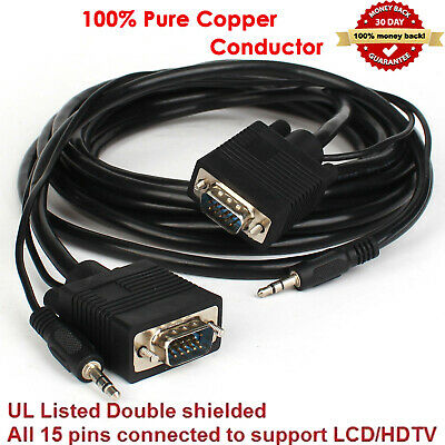 VGA Male Monitor Cable with 3.5mm Stereo Audio For Gaming LCD LED 6//10//15//25ft