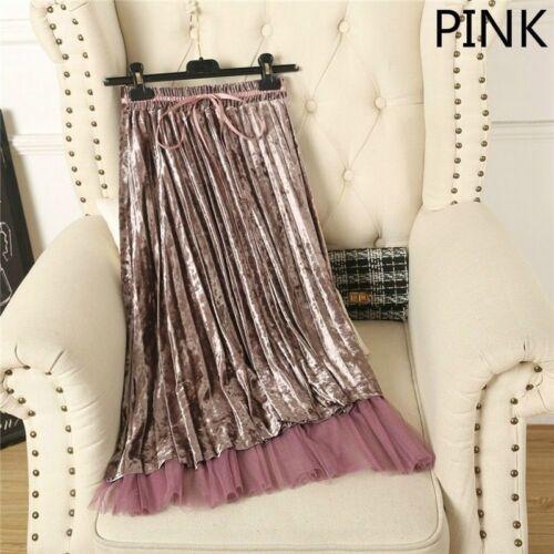 Women Velvet Pleat Skirt Dress Midi A Line Tulle TUTU Shiny Shimmer Double Layer