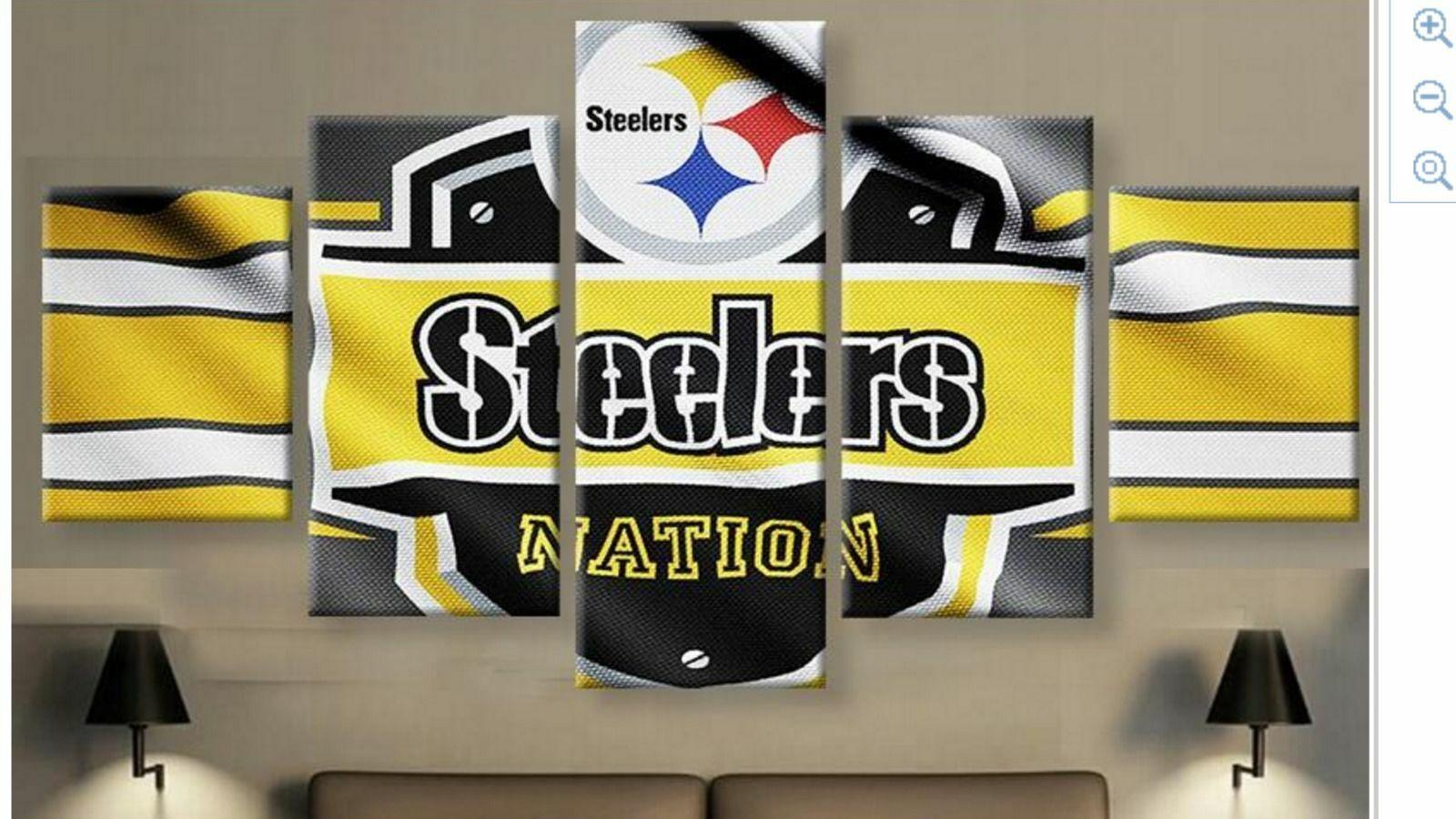 Pittsburgh Steelers Groß Gerahmt Leinen Wandkunst Fünf Teile Home Dekor Druck