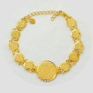 Coin Bracelet 24k Gold Plated Middle East Arabic Jewelry Sizes 5 9
