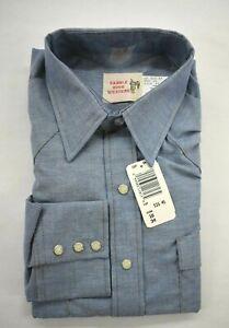 Vintage Saddle King Western Schlüssel Herren Longtail blau langarm Pearl Snap Shirt